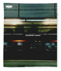 Stockholm Central- Photograph By Linda Woods Fleece Blanket