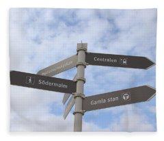 Stockholm Street Signs Fleece Blanket