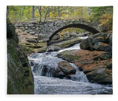 Stone Arch Bridge In Autumn Fleece Blanket
