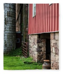 Stone Barn With Milk Can Fleece Blanket
