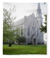 Stone Chapel In Fog Fleece Blanket