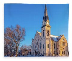 Stone Chapel In Winter Fleece Blanket