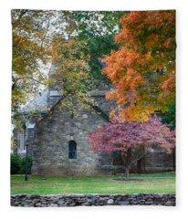 Stone Church In Pomfret Ct In Autumn Fleece Blanket
