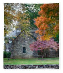 Stone Church In Pomfret Ct In Autumn Fleece Blanket