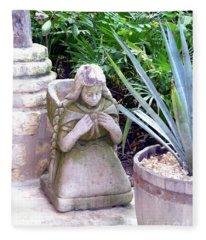 Stone Girl With Basket And Plants Fleece Blanket