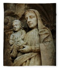 Stone Madonna And Child Fleece Blanket