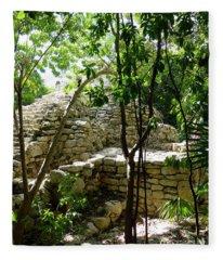 Stone Steps In The Jungle Fleece Blanket