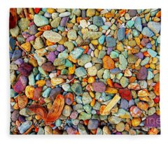 Stones And Barks On Beach Fleece Blanket