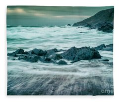 Storm At Church Cove Fleece Blanket