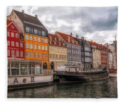 Storm Clouds Over Nyhavn Fleece Blanket
