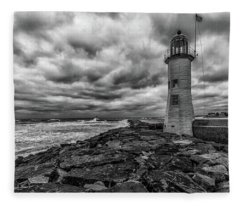 Storm Clouds Over Old Scituate Lighthouse In Black And White Fleece Blanket