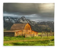 Storm Clouds Over The Mormon Barn In Grand Teton National Park Fleece Blanket