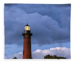 Storm Looms Near Currituck Beach Lighthouse Fleece Blanket