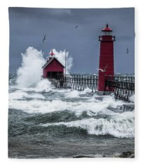 Storm On Lake Michigan By The Grand Haven Lighthouse With Flying Gulls Fleece Blanket