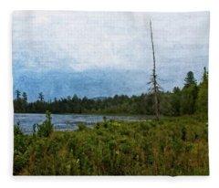 Storm On Raquette Lake Fleece Blanket