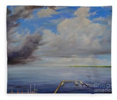 Storm On The Indian River Fleece Blanket
