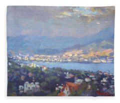 Storm Over Dilesi And Evia Island  Fleece Blanket