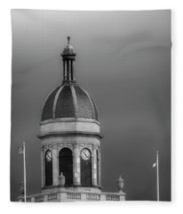 Storm Over Dome In Black And White Fleece Blanket