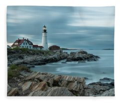 Storm Passing At Portland Head Light Fleece Blanket