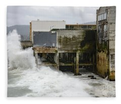 Storm Waves Hit Aeneas Ruins At Cannery Row Fleece Blanket