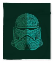 Stormtrooper Helmet - Star Wars Art - Blue Green Fleece Blanket