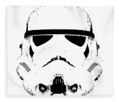 Fleece Blanket featuring the digital art Stormtrooper Helmet Star Wars Tee Black Ink by Edward Fielding