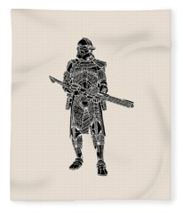 Stormtrooper Samurai - Star Wars Art - Black Fleece Blanket