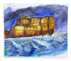 Stormy Castle Dell'ovo, Napoli Fleece Blanket