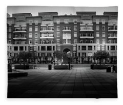 Stormy Morning At North Church Condos In Black And White Fleece Blanket