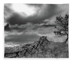 Stormy Sky At The Ranch Fleece Blanket