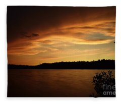 Stormy Sunset On Amoeber Lake Fleece Blanket
