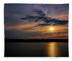Stormy Sunset Over Belleville Lake Fleece Blanket
