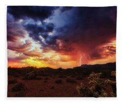 Fleece Blanket featuring the photograph Stormy Twilight In The Desert by Rick Furmanek