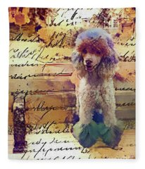 Story Of A Painted Poodle On A Park Bench Fleece Blanket