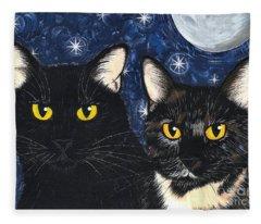 Strangeling's Felines - Black Cat Tortie Cat Fleece Blanket