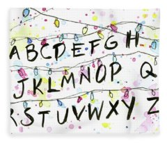 Stranger Things Alphabet Wall Christmas Lights Fleece Blanket