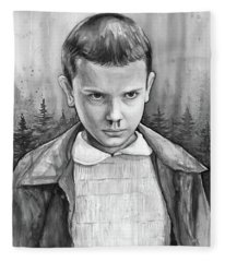 Stranger Things Fan Art Eleven Fleece Blanket
