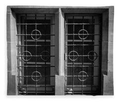 Strasbourg Window 06 B W Fleece Blanket