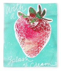Strawberries And Cream Fleece Blanket