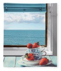 Strawberries By The Sea Fleece Blanket