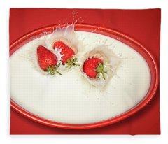 Strawberries Splashing In Milk Fleece Blanket