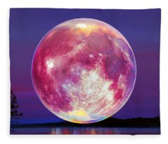 Strawberry Solstice Moon Fleece Blanket