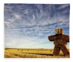 Strawman On The Prairies Fleece Blanket