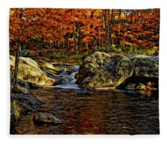 Stream In Autumn 57 In Oil Fleece Blanket