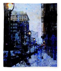 Street Lamps Sidewalk Abstract Fleece Blanket