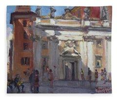 Street Musicians Pzza San Silvestri Rome Fleece Blanket
