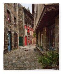 Street Of Dinan Fleece Blanket