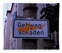 Street Sign With Graffiti Fleece Blanket