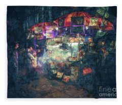 Street Vendor Food Stand Fleece Blanket