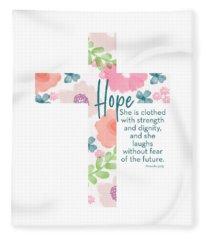 Strength And Dignity Cross- Art By Linda Woods Fleece Blanket